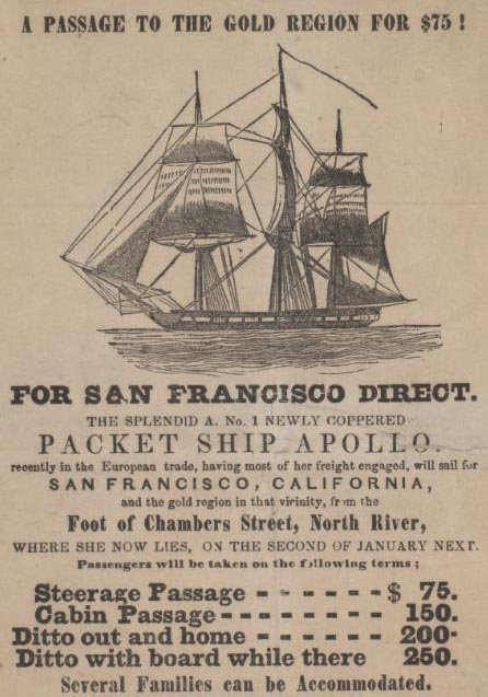 Gold rush apollo packet ship ad2
